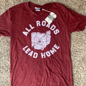 """Small red Ohio tee """"all roads lead to home"""""""